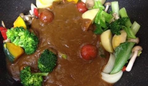 野菜ソースコカレー合体4